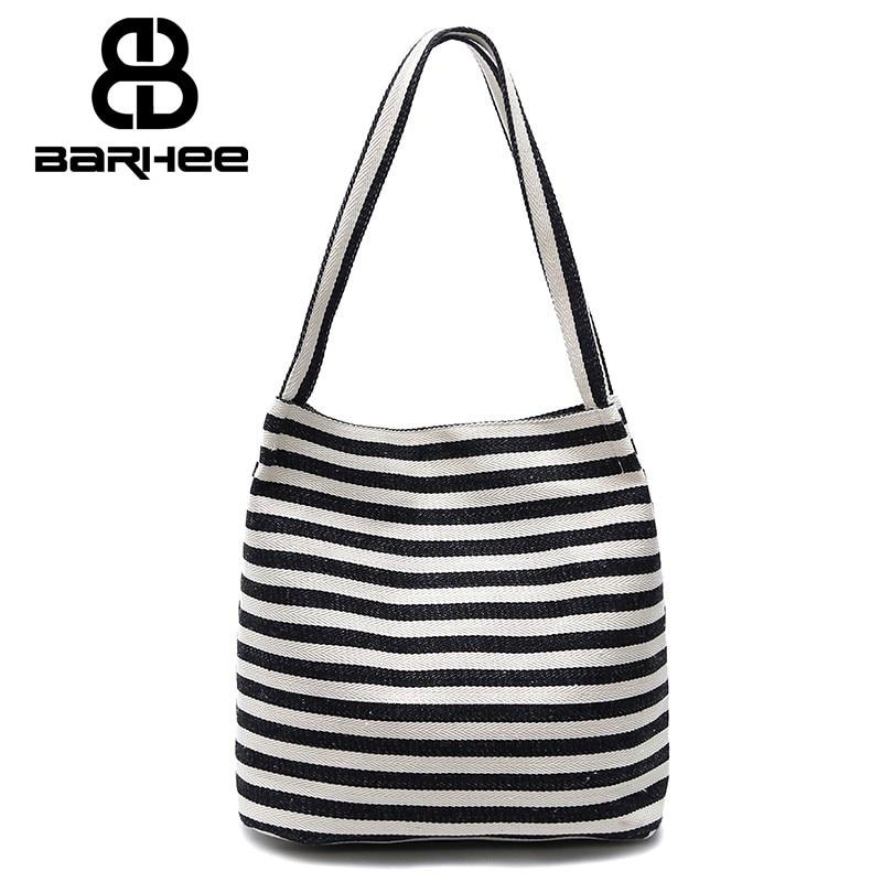 Women's Handbag Canvas Bucket Shoulder Bags Korean Strip Tote Student Young Ladies Hand Bag Female