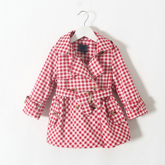 Fashion Baby Girls Plaid Coats Jackets with Belt Brand Children Outerwear Outfits Girls Kids Trench