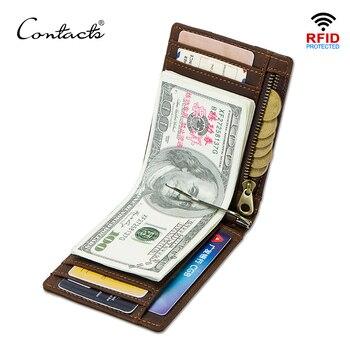 Contact's Kuda Gila Pria RFID Kulit Asli Klip Uang Dompet Kartu Tipis Lipat Arus Clamp Kasual Pemegang Uang Tunai Pria Koin dompet