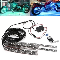 8 Pcs 5050 SMD Strip Flexible RGB Flashing Light Decorative Lamp LED Remote Control Motorcycle