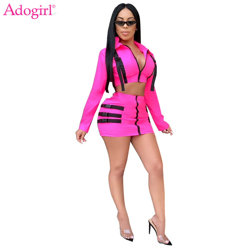 Adogirl Rosy Schnalle Zwei Stück Set Kleid Zipper Drehen Unten Kragen Langarm Jacke Mantel Crop Top + Bodycon Mini rock Outfits