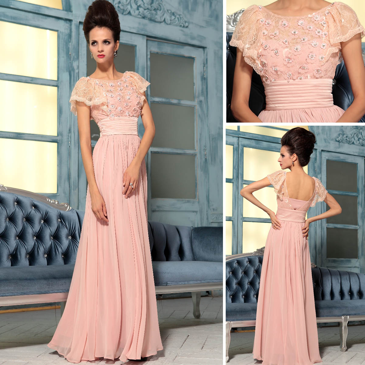 37670 bag evening dress 2013 pink lace evening dress ...