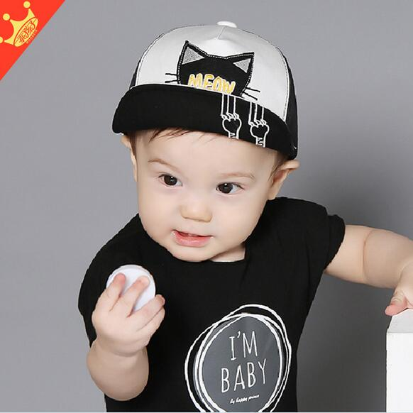 fbe15871a00 Children summer hat 2016 spring 6 months 2 year old baby boy girls baseball  caps Cartoon cat whiskers tongue mesh cap hats-in Hats   Caps from Mother    Kids ...