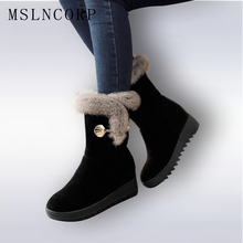 Plus Size 34-42 Height Increasing Women Snow Boots Platform Woman Creepers Slip On Ankle Fashion Casual Winter warm Shoes