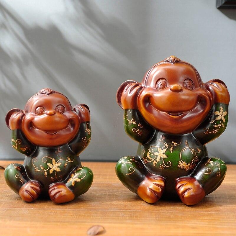 Européenne trois petit singe ornements mignon animal salon décoration Nouvel An Cadeau résine artisanat - 3