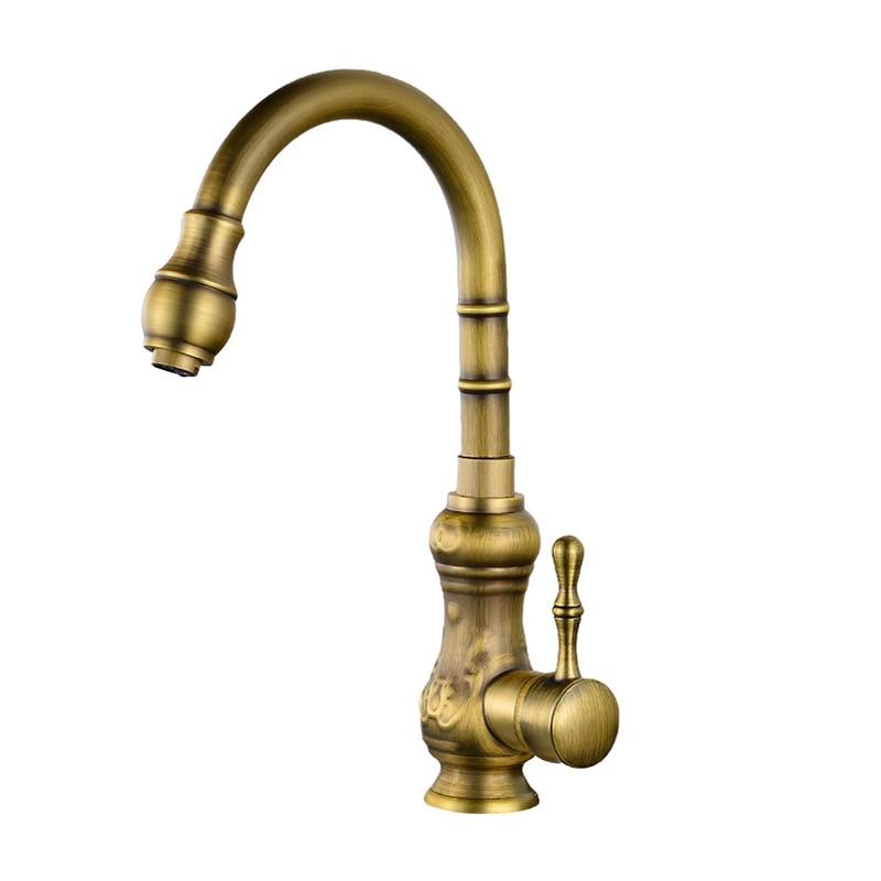 Robinets de bassin laiton Bronze brossé robinet de grue pour cuisine poignée unique trou pont monté mélangeur robinets d'eau Rotation de 360 degrés