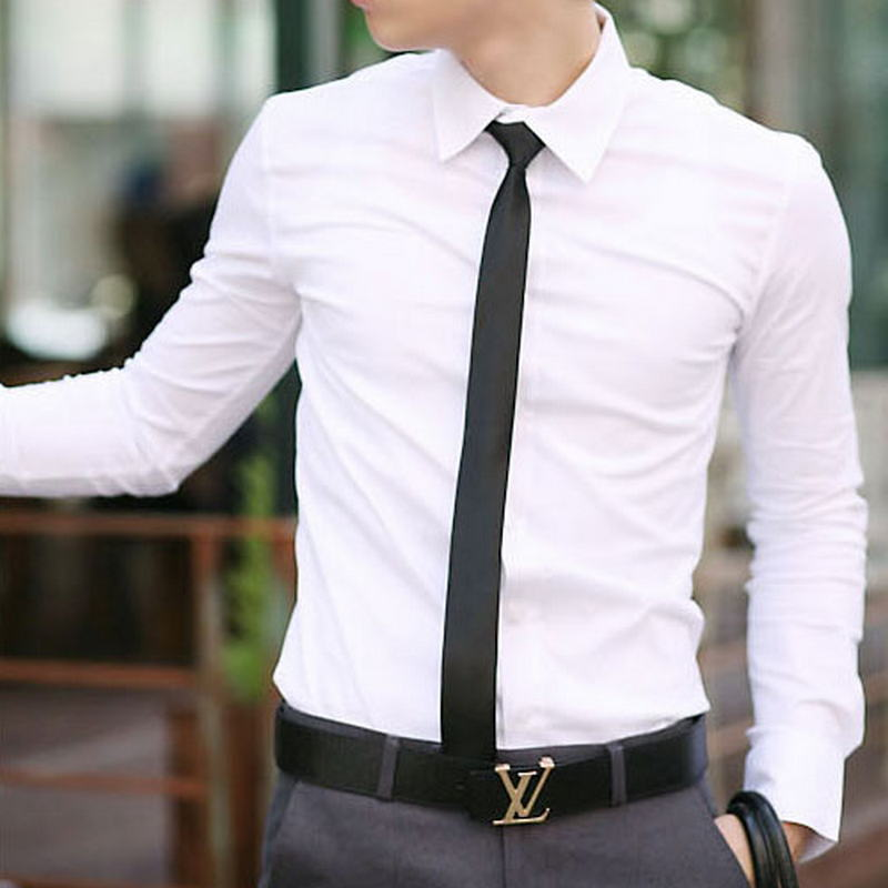 WSGYJ Men Formal Shirt 2019 Brand Office Men's Shirt High Quality Solid Color Long Sleeves Shirts White Black