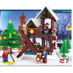 25611 812pcs Inverno Villaggio Ufficio Postale Città Avvento Calendario Di Natale Santa Officina Building Block Giocattoli Per I Bambini