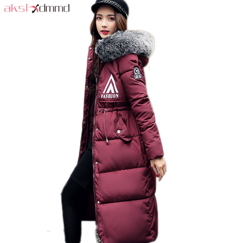 AKSLXDMMD Parkas Mujer Winter Jacket Women 2017 New Fur Hooded Printed Letters Long Thick Casual Coat Female Overcoat LH1220 akslxdmmd women winter jacket 2017 new female jacekt fashion hooded printed letters thick padded woman coat parkas mujer lh1066