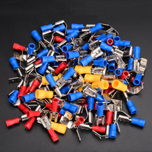 100pcs 10-22AWG Insulated Piggyback Spade Crimp Electrical Red Blue Yellow Terminals Connectors Assorted Kit Mayitr