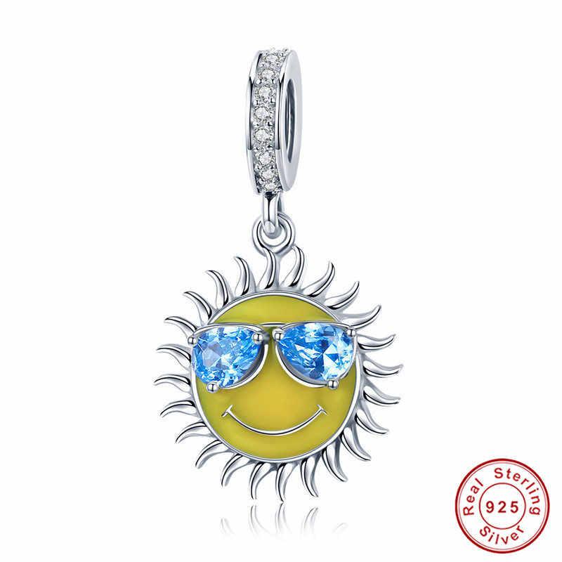 Браслет Pandora, серебро 925, оригинальные солнечные очки, чашка для напитков, краб, морская звезда, якорь, амулеты, CZ жук, бусины с клевером, браслет