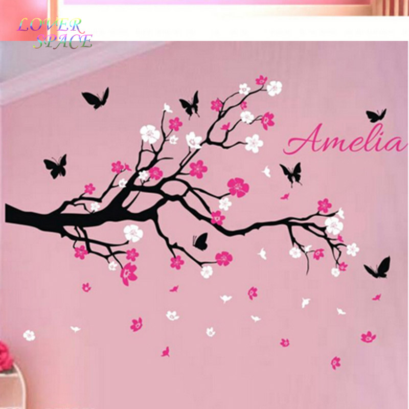 on sale custom personalised name birds butterfly branch wall sticker