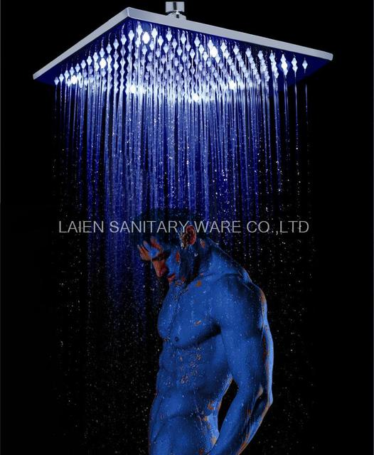 Superfaucet 10INCH Square Led Rain Shower LED Shower Head Rainfall Shower  Head Temperature Control Water HG