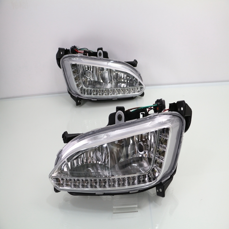 1 Set white LED DRL daytime running lights fog driving lamps with Covers for Hyundai Santa Fe/ IX45 2013-2015