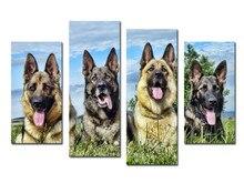 4 Stück Clevere Polizeihund Wandmalerei Moderne Home Decor Wohnzimmer Leinwand HD Drucken Malerei Leinwand Kunstwerk bild