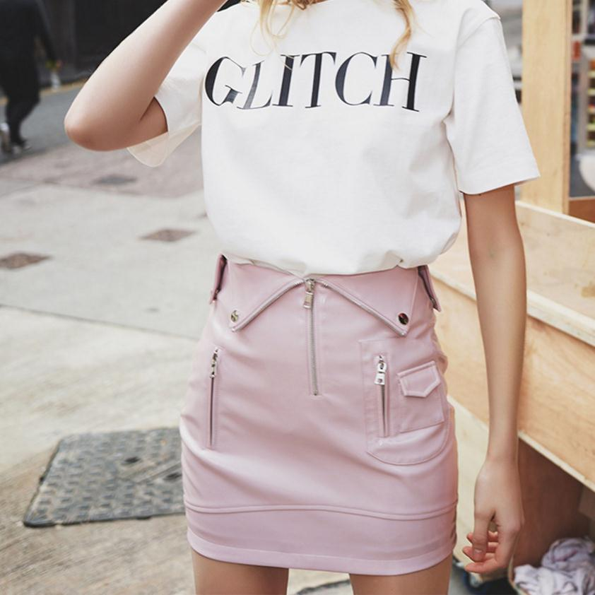 apricot Ladies Summer Word Waist Black pink 2018 Patent A High Female Small Skirt Leather Wj1835 Package Black Spring Hip Step One CpPWP5Rq