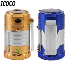 ICOCO 1pcs 220V Outdoor Portable USB Rechargeable Solar Super Bright Flashlight LED Camping Emergency LampFree Shipping Hot Sale
