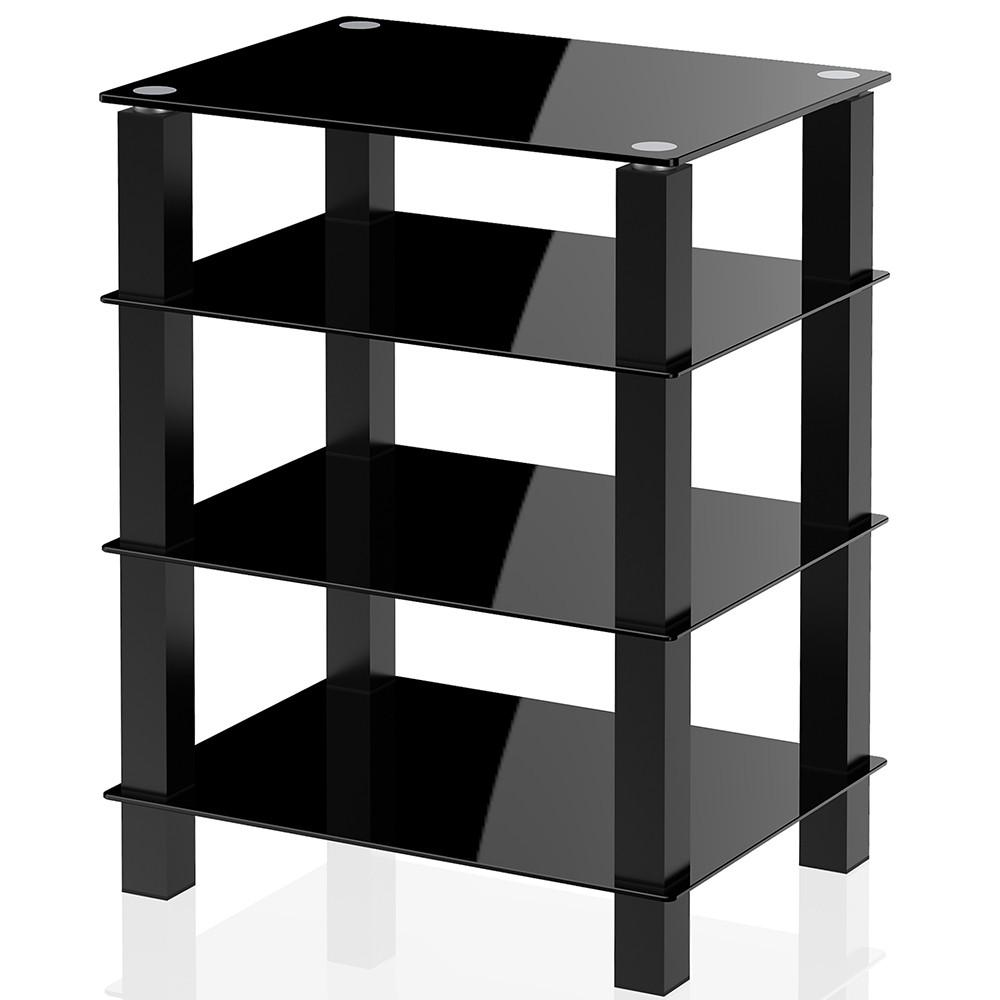 Fitueyes Tower  Media Stand Storage tower Glass Shelves Storage for AV Components Console AS406002GB