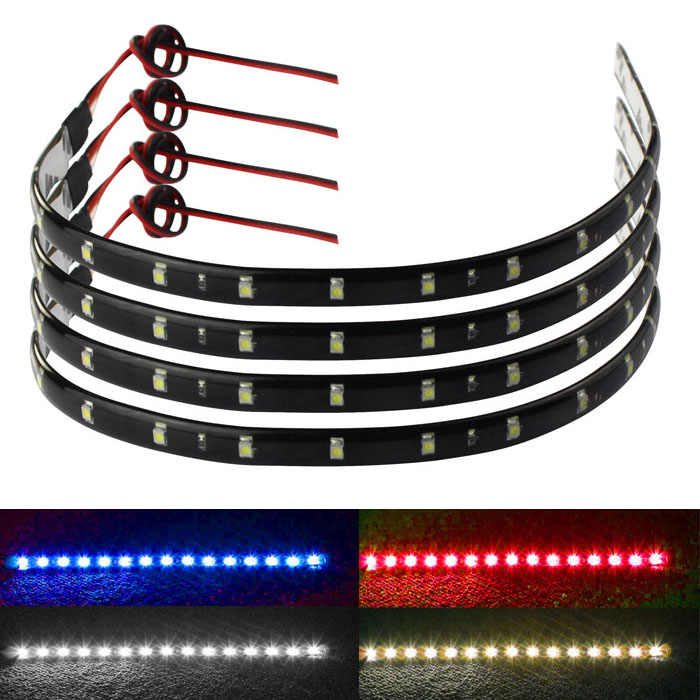 Car Light Strips 4 x 30cm 15 LED Car Trucks Motor Grill Flexible Waterproof Light Strips 4 Colors dropship d18