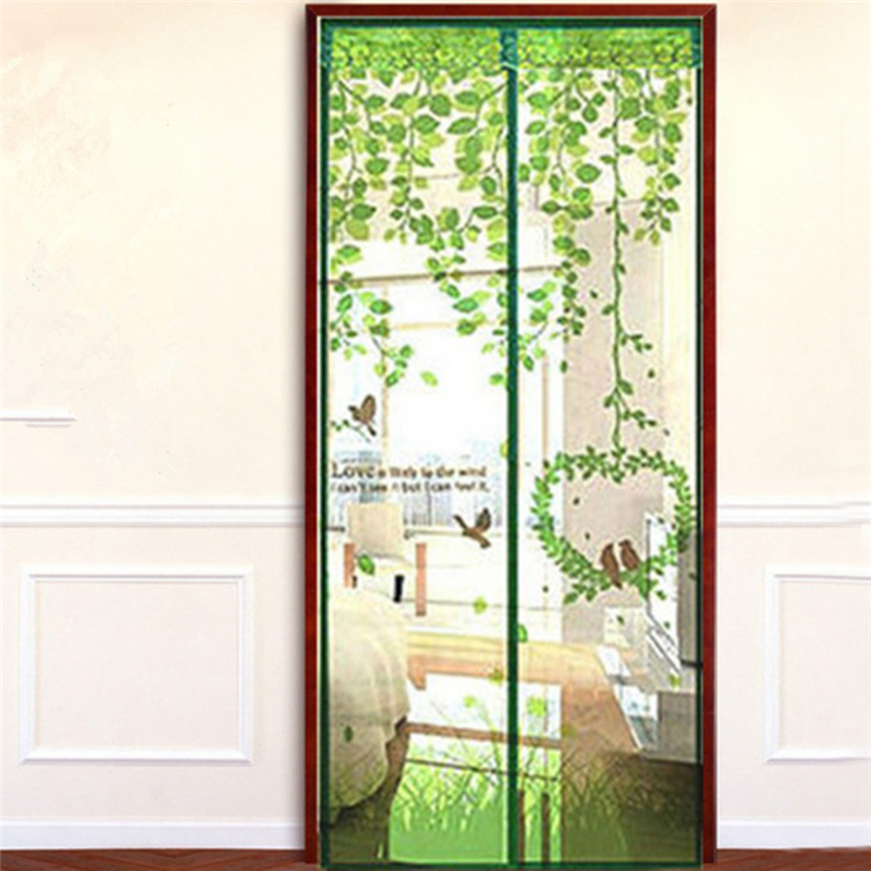 Anti Mosquito Magnetic Curtain Automatic Closing Door Screen Bird Style  Print Polyester Fiber 4 Color 2 Size 1Pcs