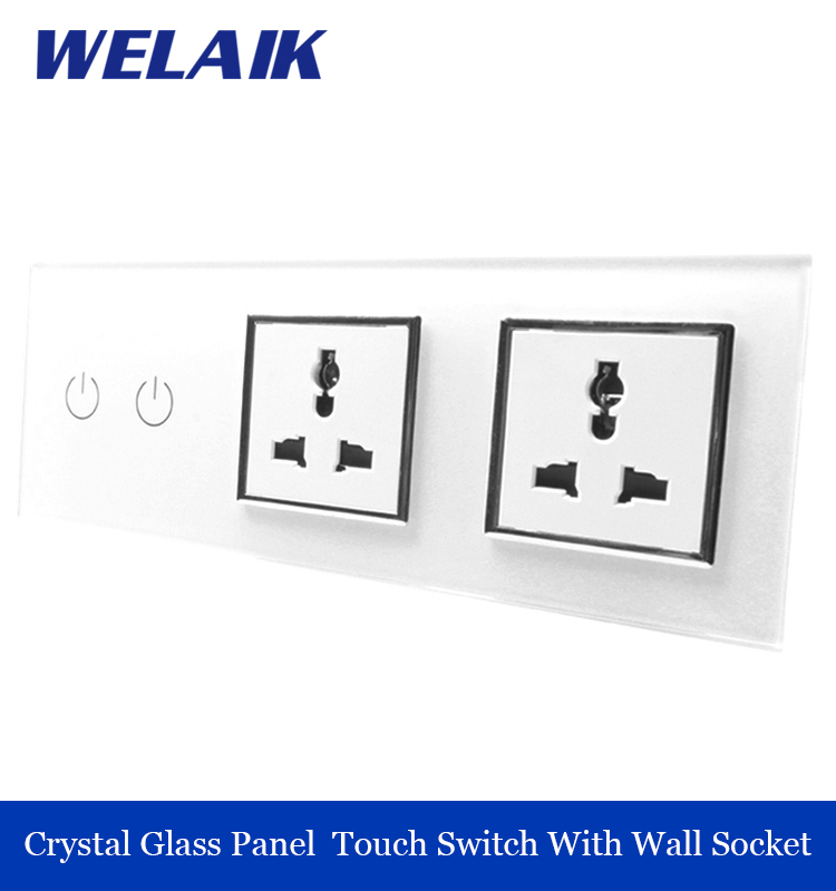 ФОТО WELAIK Crystal Glass Panel Electronic wall Switch touch control Screen  Light Switch white  Socket A39218MU8MUW