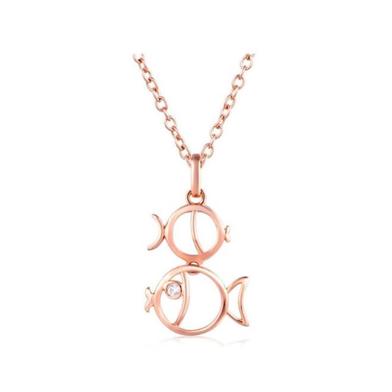 Signes du zodiaque collier pendentif pour hommes femmes meilleur ami cadeau d'anniversaire couleur or Rose 18 K or poissons Constellations
