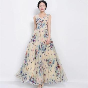 034cb0ab9447863 Летнее длинное шифоновое платье женское длинное платье макси с ...