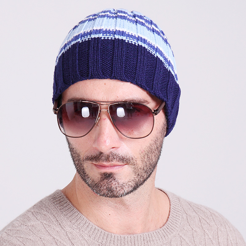 Helisopus Men's Hats Warm Knitted Outdoor Skiing Autumn and Winter Stripes Hats Hip Hop   Skullies     Beanies   for Men