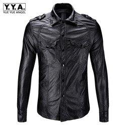 Новинка 2019, приталенные мужские мотоциклетные байкерские кожаные рубашки, мужские черные модные рубашки из искусственной кожи с карманами,...