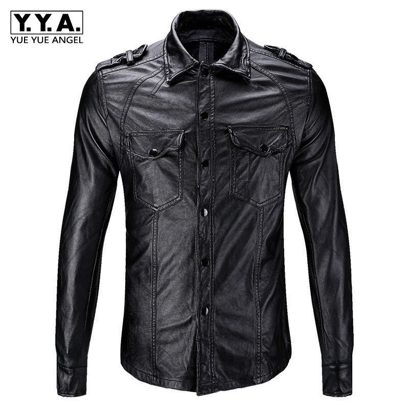 2019 New Slim Fit Men Motorcycle Biker Leather Shirts Coats Male Black  Fashion Pockets PU Shirts Tops Autumn Casual Men Clothes