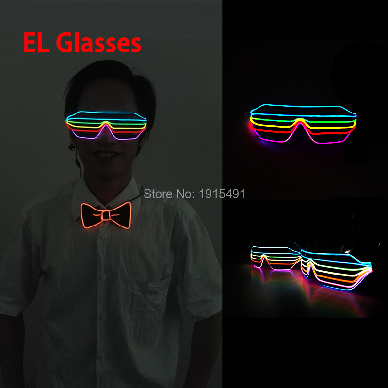 Pay Attention!Rainbow Pretty Festival Gift EL Wire Shutter Glasses Holiday Lighting Happy Blinking Sound Active Neon Led Eyewear