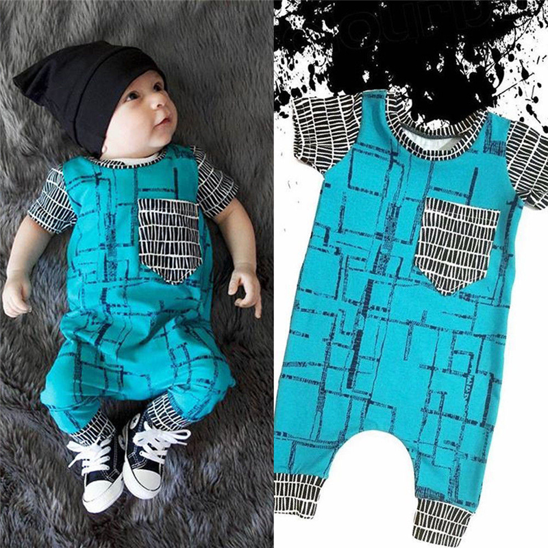 2019 Brand Newest Infant Baby Kids Boy Girl Infant Casual Plaid   Rompers   Jumpsuit Cotton Clothes Set 0-24M