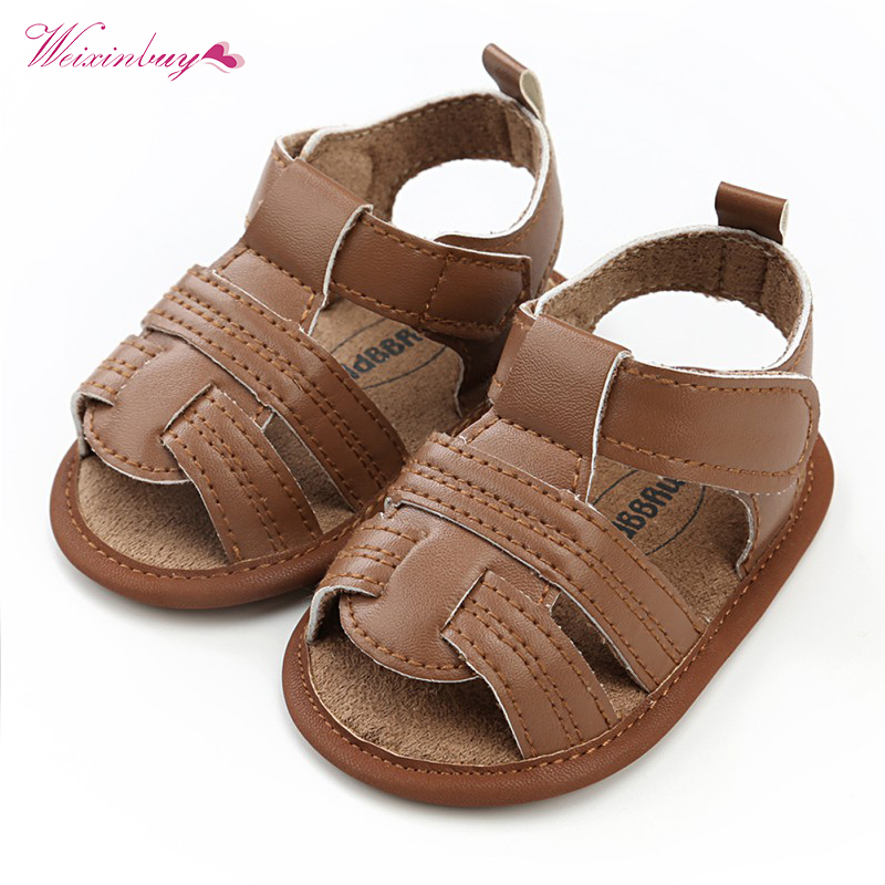 WEIXINBUY Summer Boy Girl Sandals Bebe Party Baby Shoes Infant Birthday Gold PU Nonslip Baby Moccasins Shoes