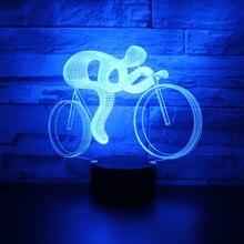 3D светодиодный ночник езды на велосипеде с 7 цветов свет для украшения дома лампы удивительный визуализации Оптические иллюзии Awesome