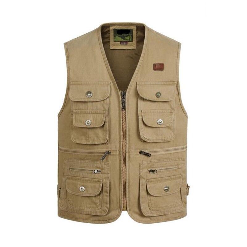 Big Size 100%cotton Tactical Masculine Waistcoat Male Multi many Pocket Zipper Vest Photographer Reporter Summer Autumn Jacket