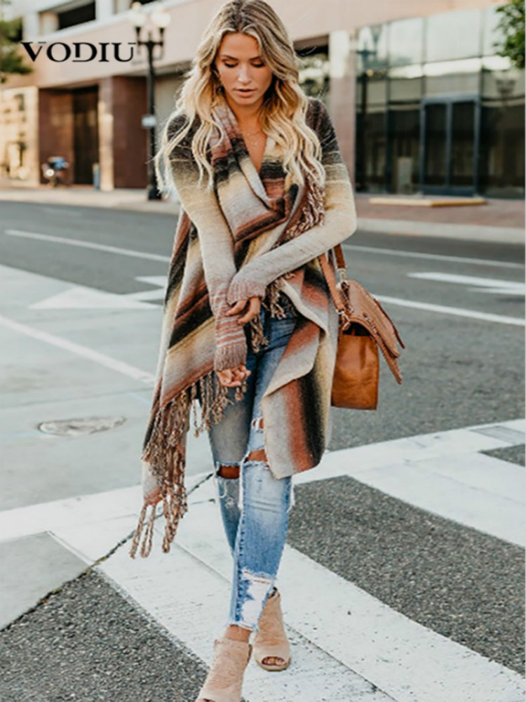Women Midi Cardigan Autumn Striped Knitted Casual Coat Female Loose Jumper Elegant Women's Clothing Winter Shrug Tassel Sweater