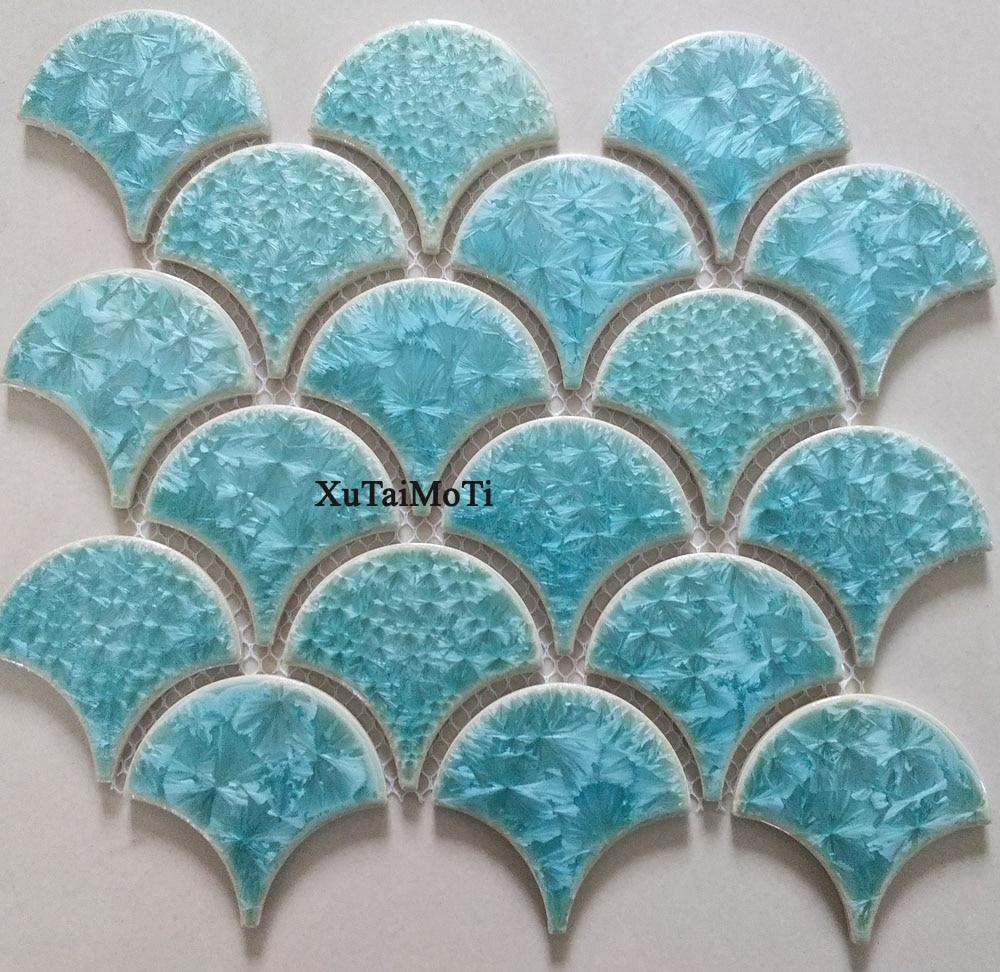 11PCS fish scale ceramic mosaic kitchen backsplash bathroom swimming pool tile