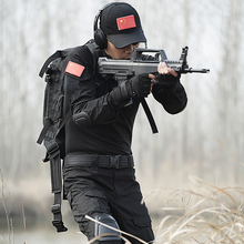 Tactical military uniform Clothing Outdoor Black camouflage combat uniform Suit Genuine Military Tactical pant wtih knee pads