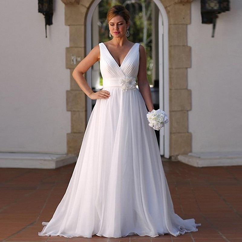 Plus Size Wedding Dress 2017 Cheap Beach With Flowers V