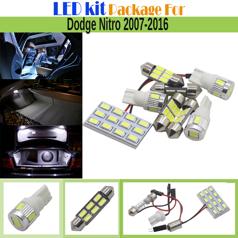 8 Pieces Car 5630 Interior LED Bulb White LED Kit Package Auto License Plate Map Dome