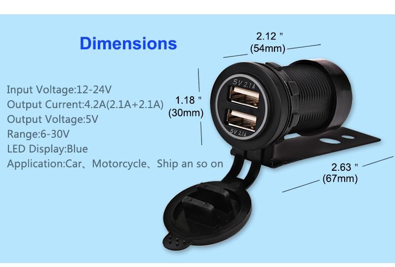 12V երկկողմանի մոտոցիկլ USB լիցքավորիչ - Ավտոմեքենաների էլեկտրոնիկա - Լուսանկար 6