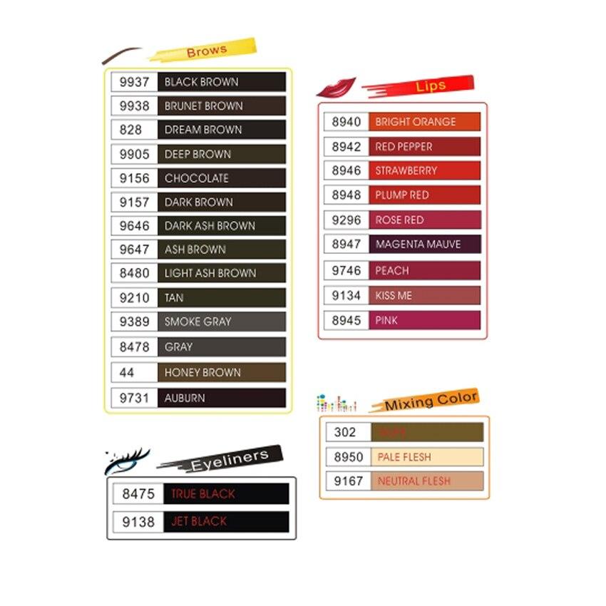 Tintas de tatuaje 25 color opcional maquillaje permanente Micro pigmento cosmético encre tatouage de la tinta del tatuaje de cejas permanente delineador de labios