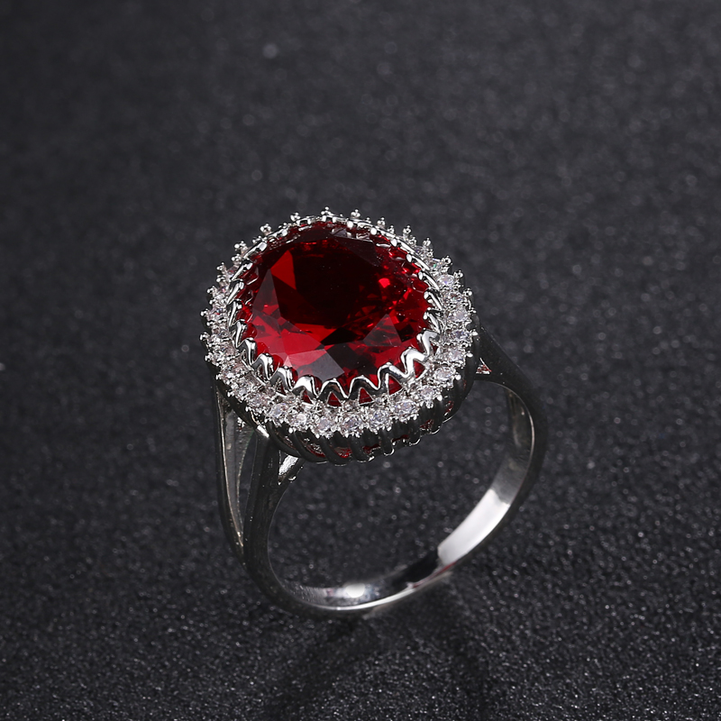 Fashion New Big Red Cubic Ring Size 6 7 8 9 10 Cocktail