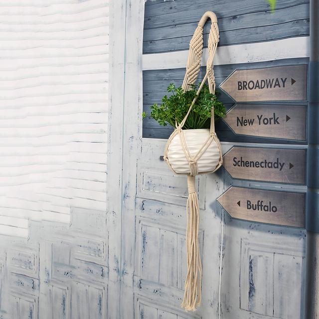 Vintage Knotted Hanger Basket Flowerpot Macrame Lifting Rope Plant Hanger Pot Holder Garden Flower Plant Display