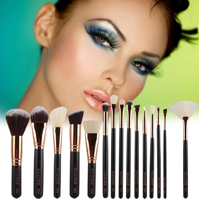 Brochas de maquillaje de fibra de nailon profesional de 15-18 piezas Kit de brochas de maquillaje de base cosmética en polvo ventilador brocha de rubor herramienta de moda maquiagem