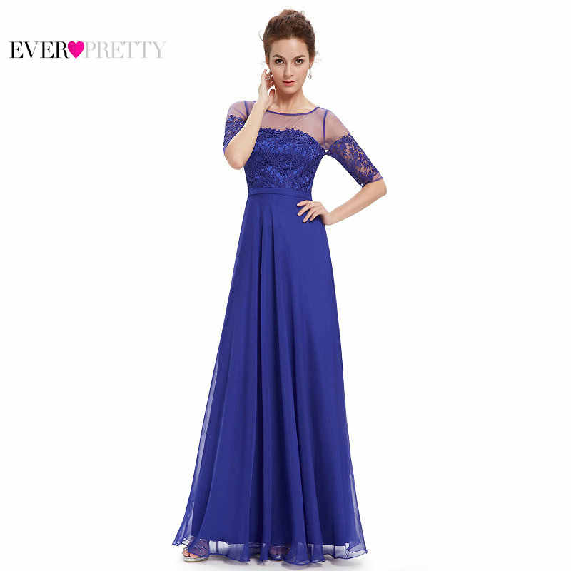 Ever Pretty Elegant Women Evening Dresses with Half Sleeve Sexy A-line Chiffon Lace Appliques Backless Tulle Party Evening Dress