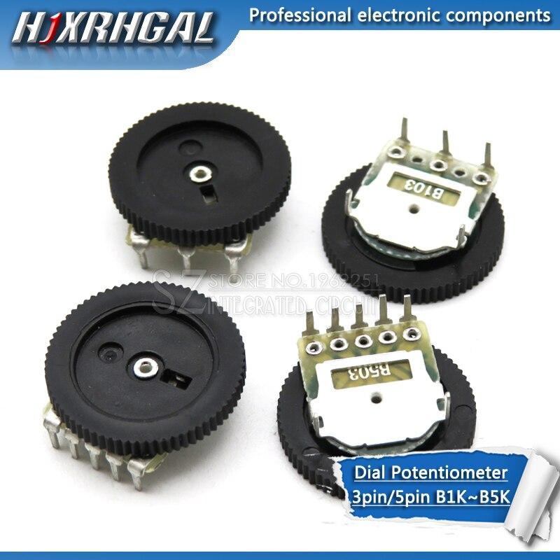 10pcs Double Gear Tuning Potentiometer B102 B103 B203 B503 B1K B10K B20K B50K 3Pin/5Pin  16*2mm Dial Potentiometer Hjxrhgal