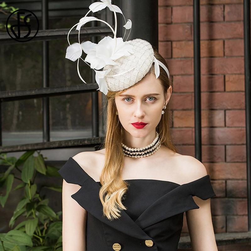 FS Ladies Fascinators For Wedding Hats White Women Elegant Church Tea Party Hat Cocktail Sinamay Derby Vintage Flower Fedora