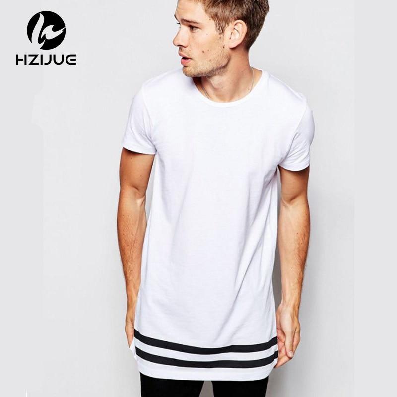 e7de407078fe2 HZIJUE уличная Мужская Футболка удлиненная длинная хипстерская Футболка  мужская полосатая футболка Homme длинная футболка с полосатым подолом