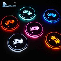 2 Pieces Lot LED R Cup Coaster For Volkswagen VW Golf 6 GTI Scirocco Passat B6